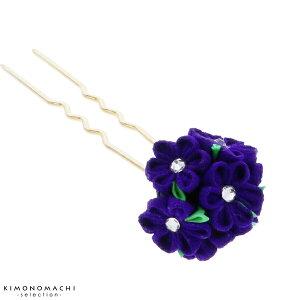つまみ細工 髪飾り「紺紫」かん