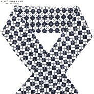 柄 半衿「黒×白 アーガイルチェック」半衿 日本製 オシャレ小物 ポリエステル帯揚げ
