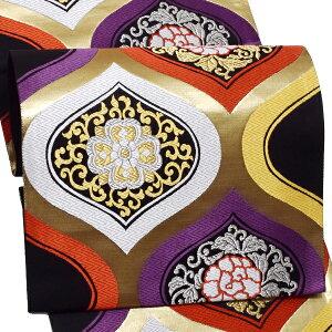振袖 袋帯「黒×金色 更紗」未