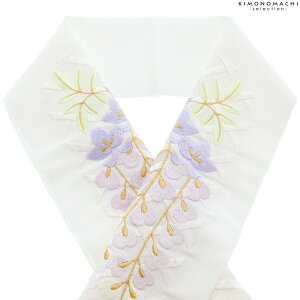 刺繍 半衿 「白地籠目模様に藤