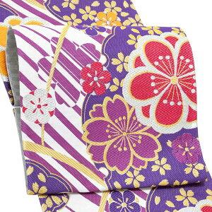 振袖 帯 「白×紫 桜と八重梅