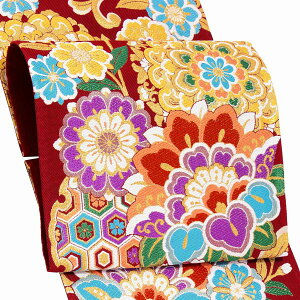 振袖 帯 「赤地 華紋と桜」