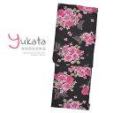 浴衣 レディース 単品 「黒地 蝶とピンクのバラ」 F フリーサイズ yukata 【メール便不可】ss2109ykl50