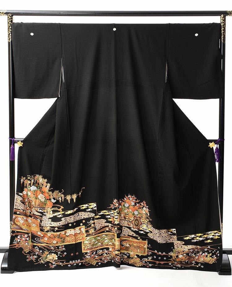 【レンタル】 黒留袖レンタル 着物レンタル 留袖 t447 フルセット 黒留袖 レンタル 結婚式 披露宴 レンタル 母親 親族 列席者 おすすめ 貸衣装 正絹 姉妹 叔母 伯母