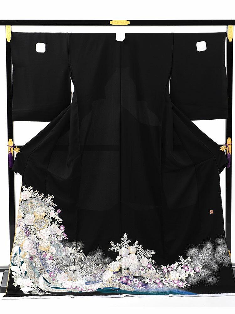 【レンタル】 【レンタル】桂由美 黒留袖 「洋扇面」 フルセット LOサイズ ゆったりサイズ yumi-katsura_8 大きいサイズ 黒留袖レンタル 留袖レンタル