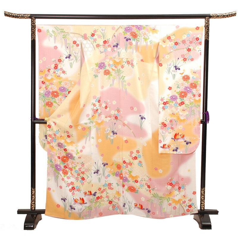 【レンタル】 十三参り振袖フルセットレンタル高級正絹の着物Mサイズ・古典・花柄【品番:j-7】