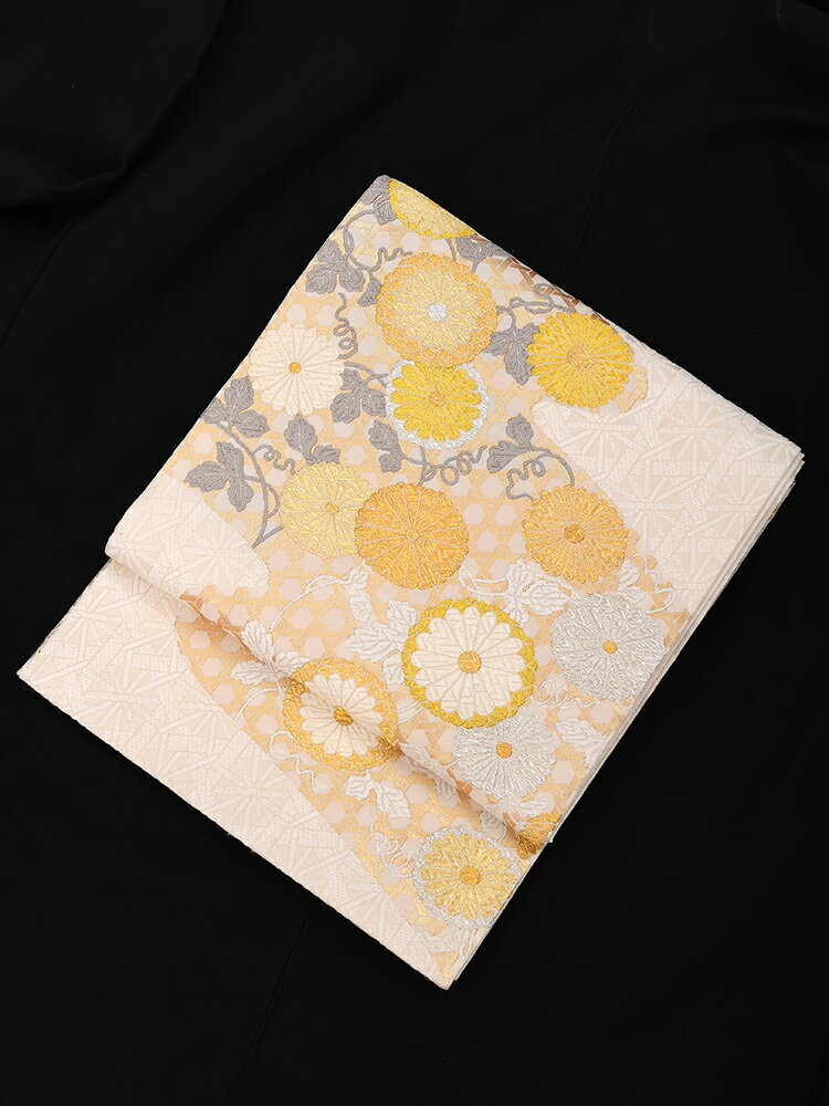 【レンタル】 厳選高級袋帯 山口美術織物謹製 菊柄 【obi-25-278-y】
