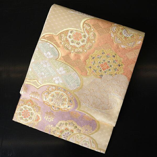 【レンタル】 【obi-25-84】西陣織、長尺の袋帯レンタル・有職文様【送料無料】