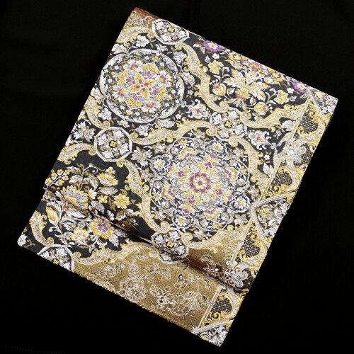 【レンタル】 黒地の西陣織袋帯【obi-26-294】