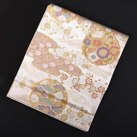 【レンタル】 長めの袋帯 西陣織 雪輪吉祥文様【obi-26-105】