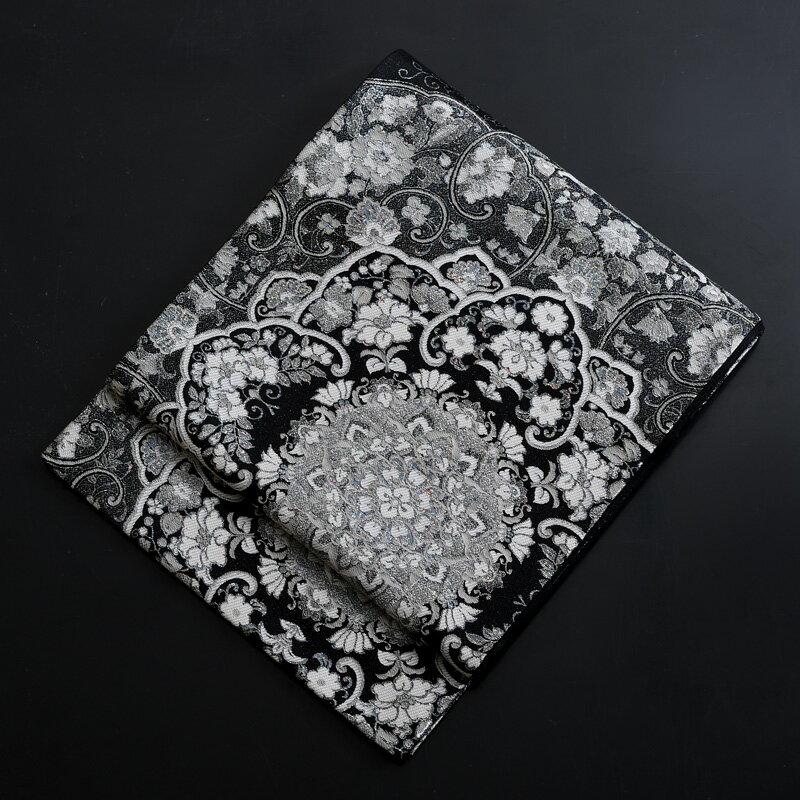 【レンタル】 【obi-29-327】豪華高級袋帯レンタル 黒地のフォーマル袋帯