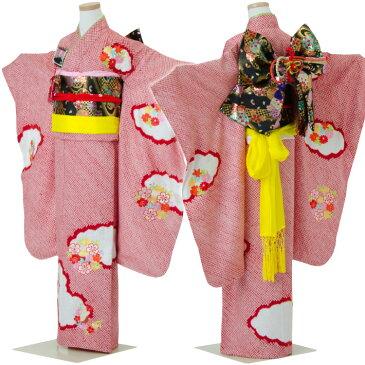 七五三 着物 七歳着物フルセット 正絹 女の子 赤の着物 四つ身 花柄 総絞り 刺繍 足袋や腰紐もついた安心フルセット