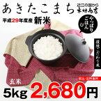 【新米!】あきたこまち 環境こだわり米 玄米 5kg【平成29年・滋賀県産】