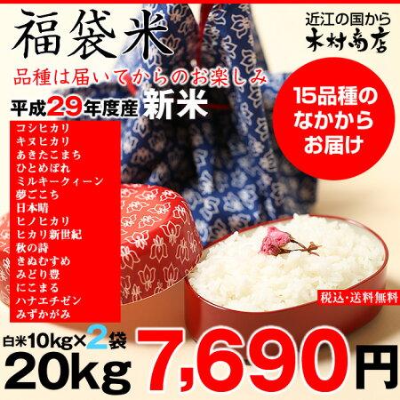 【新米:福袋米】20kg(10kg×2袋)【平成29年産:滋賀県産】【送料無料】