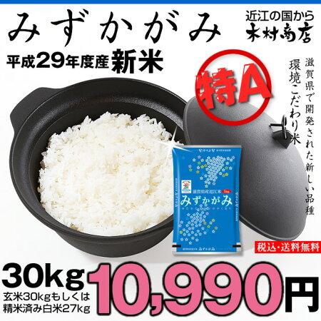 【新米】みずかがみ環境こだわり米玄米30kgもしくは精米済み白米27kg【平成29年・滋賀県産】