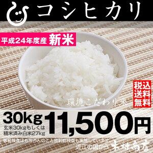 【送料無料】コシヒカリ 環境こだわり米 玄米 30kgもしくは精米済み白米27kg【平成24年・滋...