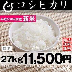 【新米】コシヒカリ 環境こだわり米 白米 27kg【平成24年・滋賀県産】