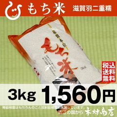 【送料無料】【新米】もち米 滋賀羽二重糯 3kg【平成25年・滋賀県産】