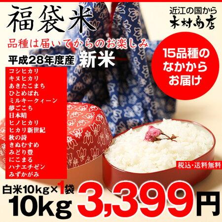 【福袋米】白米10kg【平成28年・滋賀県産】10kg×1袋でのお届けです♪】【送料無料】