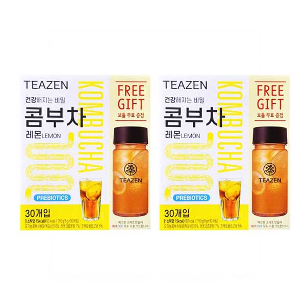 【ジョングクおまけ付き】TEAZEN(ティーゼン) (コンブチャレモン30包+ボトル付き×2) コンブチャレモン 2セット 韓国 お茶 健康茶 昆布茶 コンブ茶 コンブチャ ジョングク グク 送料無料