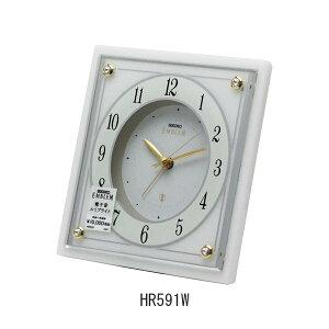 セイコー置き時計エンブレムHR591W(白大理石)目覚まし時計(電子音)電池式・ルミブライト付メーカー1年保証SEIKO-Clock-EMBLEM-HR591W
