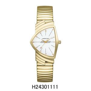 ハミルトン腕時計H24301111/ベンチュラフレックスブレスレットモデル(クォーツ)白文字盤/SSフレックス(イエローゴールドPVD)VenturaQuartz2年保証HAMILTON『送料無料』