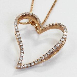 ネックレス/K18ピンクゴールド/ハート/ダイヤモンド0.27ctハートペンダント/K18PG