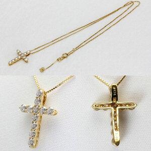 K18イエローゴールドクロスネックレスダイヤモンド1.02ctクロスペンダント十字架K18YG