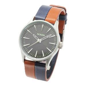 正規品ニクソン腕時計Sentry38Leather/DarkCopperNavySaddle(ユニセックス)/NA3771957-00メーカー2年保証NIXON腕時計