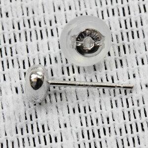 【ネコポス対応可】K18ホワイトゴールドピアスハート型/HEART(シリコン付きキャッチ)