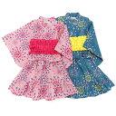 ガールズ キッズ 浴衣・甚平[なつまつり]いちごと花柄甚平上下セット・女の子・女児・子供用・綿100%