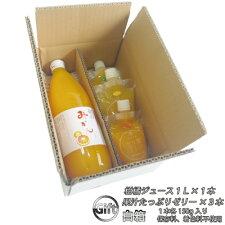 愛媛産果汁たっぷりゼリー3本&ジュース1L1本セット(ゼリーみかん、清見、河内晩柑各150g)組合せ自由に選べる3種白箱入りギフト