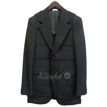 【中古】COMME des GARCONS HOMME PLUS 18AW パネル切替テーラードジャケット ブラック サイズ:XS 【送料無料】 【190119】(コムデギャルソンオムプリュス)