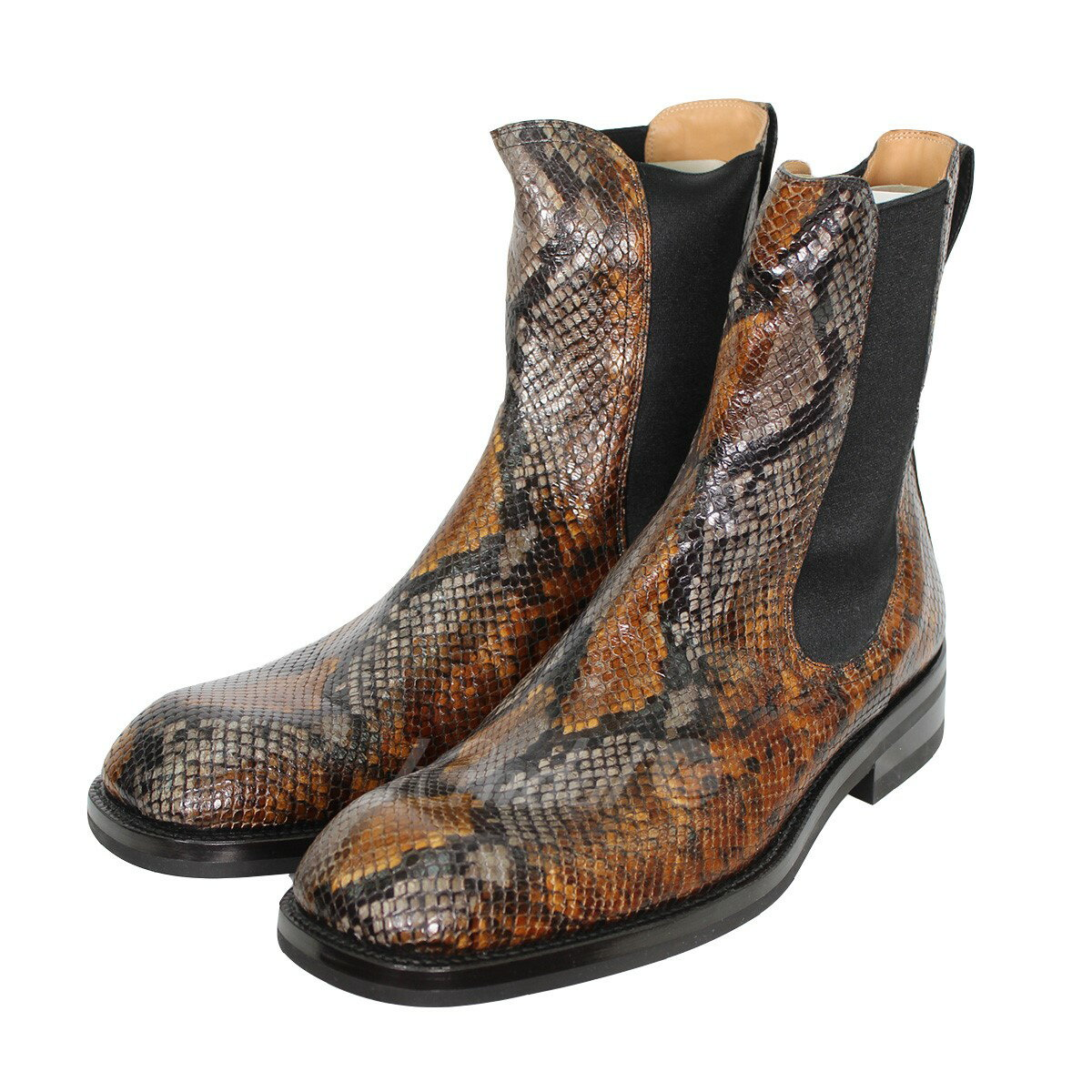 cd28c5ad589 DRIES VAN NOTEN Square Toe Chelsea Boot python leather side Gore boots  brown size: 44 (ドリスヴァンノッテン)