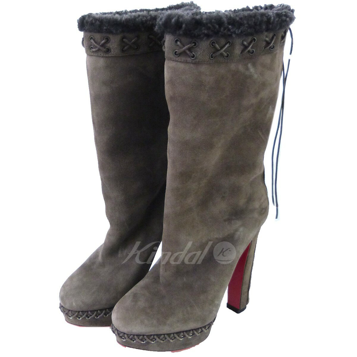 timeless design c58ab f9be1 CHRISTIAN LOUBOUTIN mouton heel boots brown size: 36 (クリスチャンルブタン)