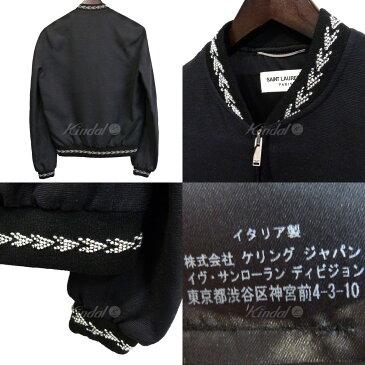 【中古】SAINT LAURENT PARIS 18SS イカットテディシルクボンバージャケット ブラック サイズ:42 【送料無料】 【140519】(サンローランパリ)