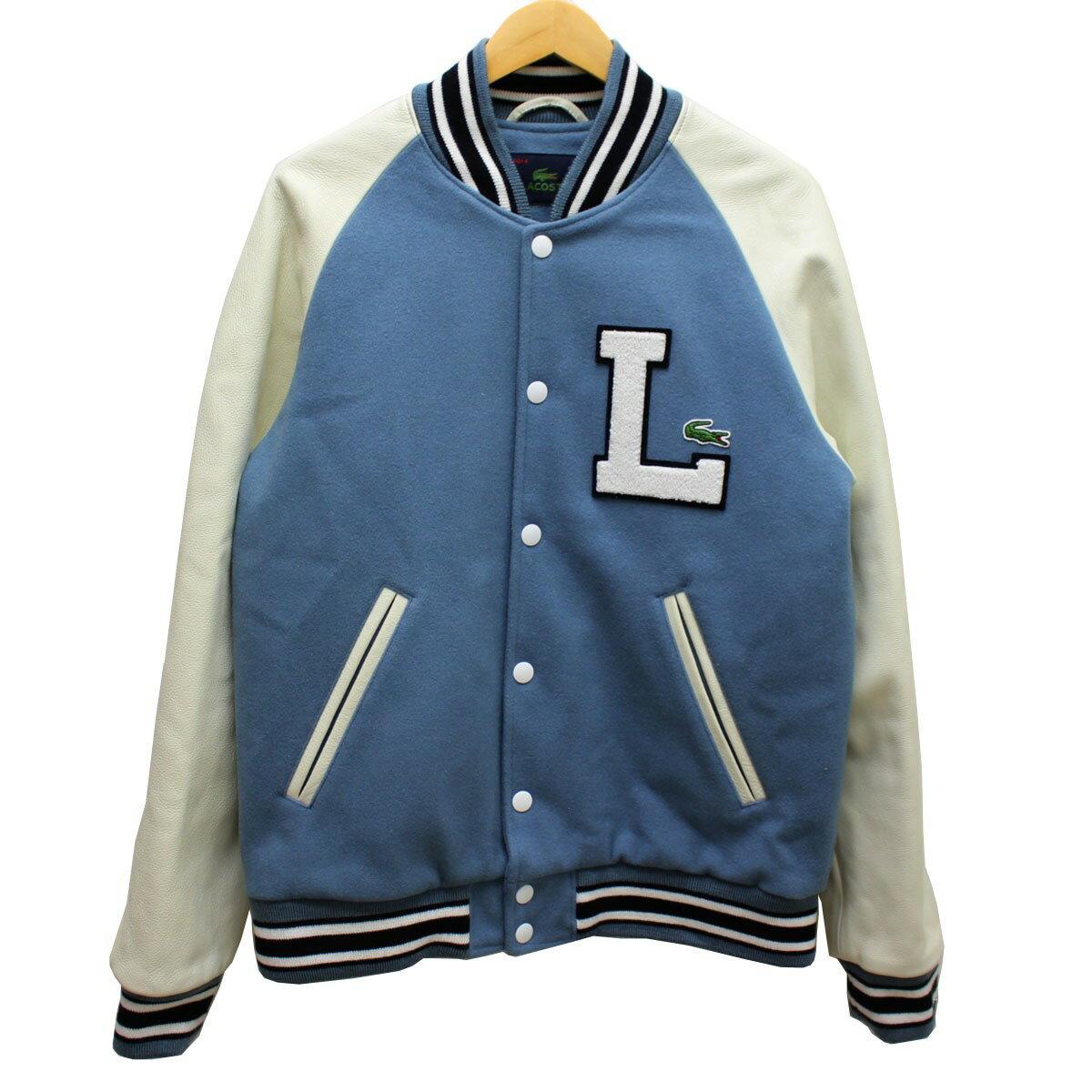 45fd84ac7 LACOSTE award jacket arm leather stadium jacket off-white, blue other size:  50(M) (Lacoste)