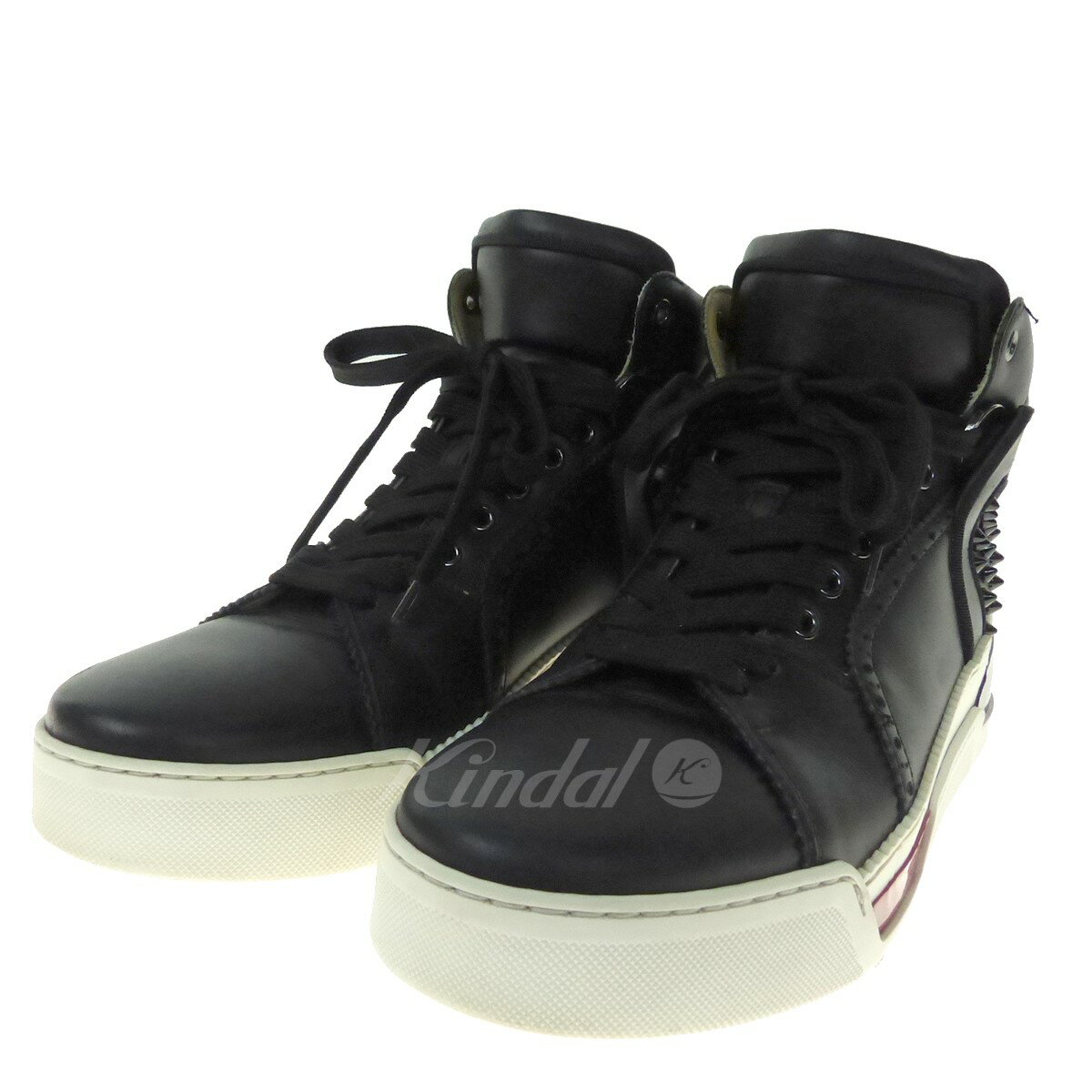 712b69967a6 CHRISTIAN LOUBOUTIN LOUBIKICK FLAT CLF leather higher frequency elimination  sneakers 3170128 black size: 40 1/2 (クリスチャンルブタン)