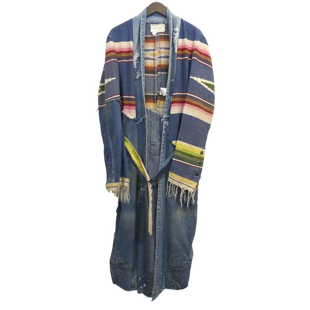 メンズファッション, コート・ジャケット Greg Lauren 19SS 5050 BEACH STRIPE DENIM KIMONO ROBE 1 191119