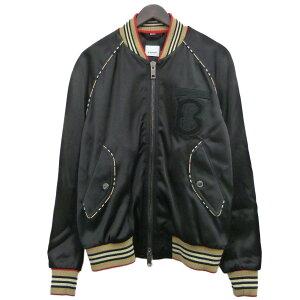 【中古】BURBERRY19AWボマージャケット ブラック サイズ:48 【4月16日見直し】
