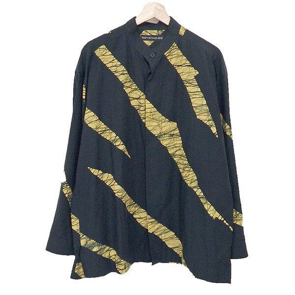 【中古】ISSEY MIYAKE MEN 19AW バンドカラーシャツ ME93FJ042 ブラック×イエロー サイズ:2 【200120】(イッセイミヤケ)