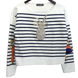 [Used] DOLCE&GABBANA Swarovski decorative border cut-and-sew White x Navy Size: 38 [210220] (Dolce and Gabbana)