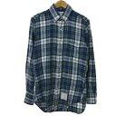 【中古】THOM BROWNE チェックネルシャツ ネイビー×グリーン サイズ:1 【150520】(トム・ブラウン)