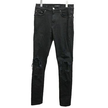 【中古】AMIRI クラッシュ加工ストレッチスキニーデニムパンツ ブラック サイズ:UK30 【260920】(アミリ)