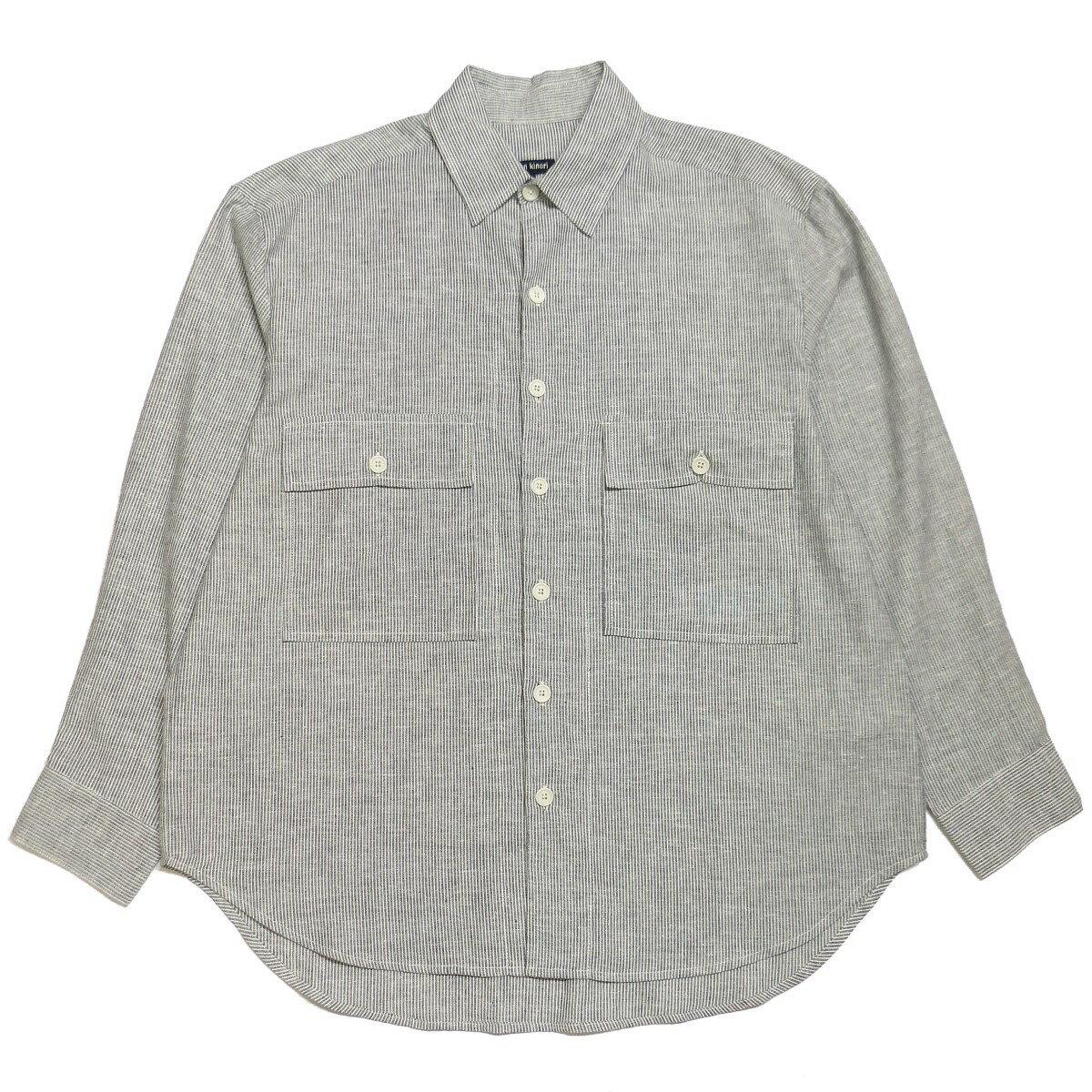トップス, カジュアルシャツ evan kinori 2021SS Big Shirt-Organic CottonHemp Ticking M 010621