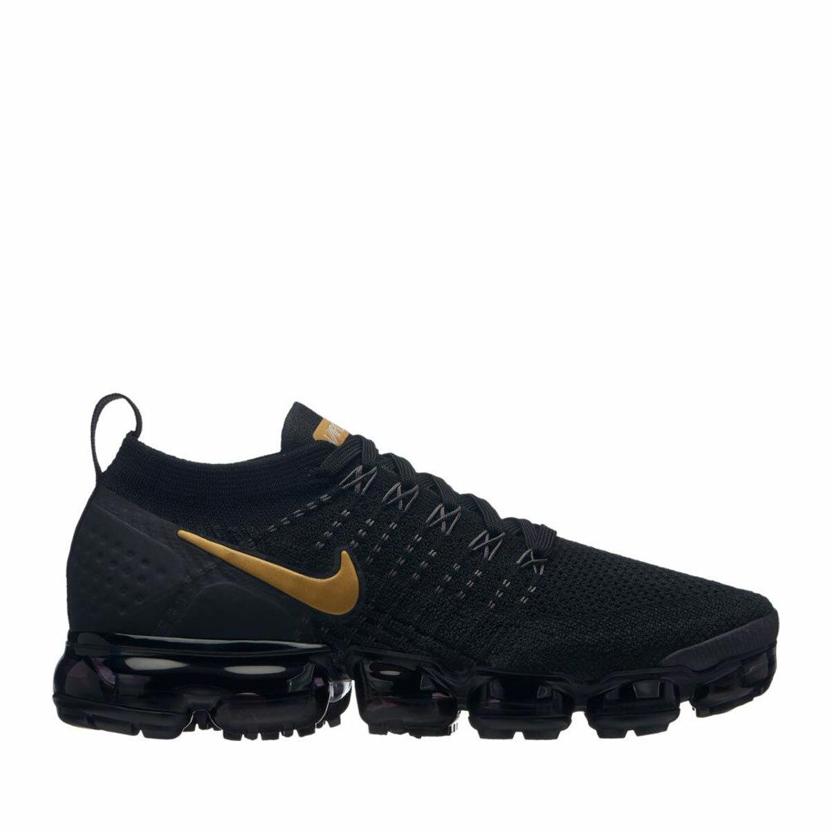 メンズ靴, スニーカー NIKE W AIR VAPORMAX FLYKNIT 2(BLACKMETALLIC GOLD-MTLC PLATINUM)( 2)18HO-I
