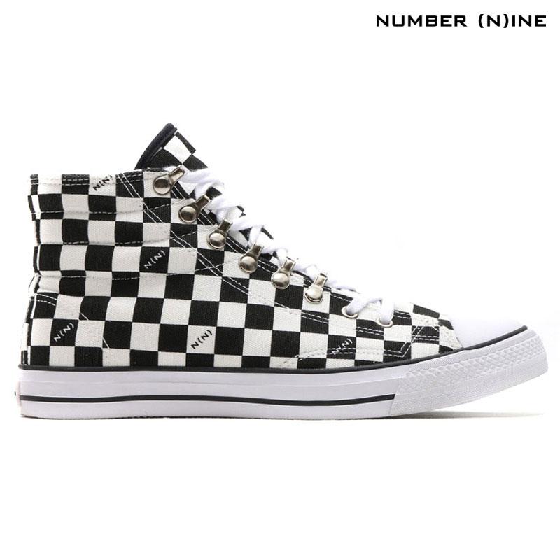 メンズ靴, スニーカー NUMBER (N)INE CANVAS SNEAKER HI(CHECKER)( )Kinetics15FW-I50sale0123