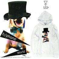 KMK「へっどふぉんワールドハットドッグ」ビッグパーカー原宿キングリーマスクメンズレディースユニセックス2017春新作プルパーカWHITE白ホワイト犬DOGプリントBIGAkjあきじ秋路着用