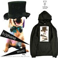 KMK「へっどふぉんワールドハットドッグ」ビッグパーカー原宿キングリーマスクメンズレディースユニセックス2017春新作プルパーカBLACK黒ブラック犬DOGプリントBIGAkjあきじ秋路着用
