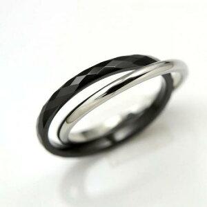タングステン&ステンレス 2連リング2mm【PVD ブラック】サイズ3〜19号 文字入れ刻印可能♪/ペアセットリング/結婚指輪/マリッジリング